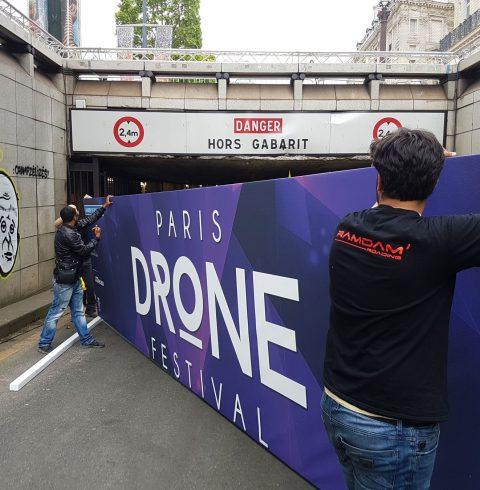 Installation du Paris Drone Festival